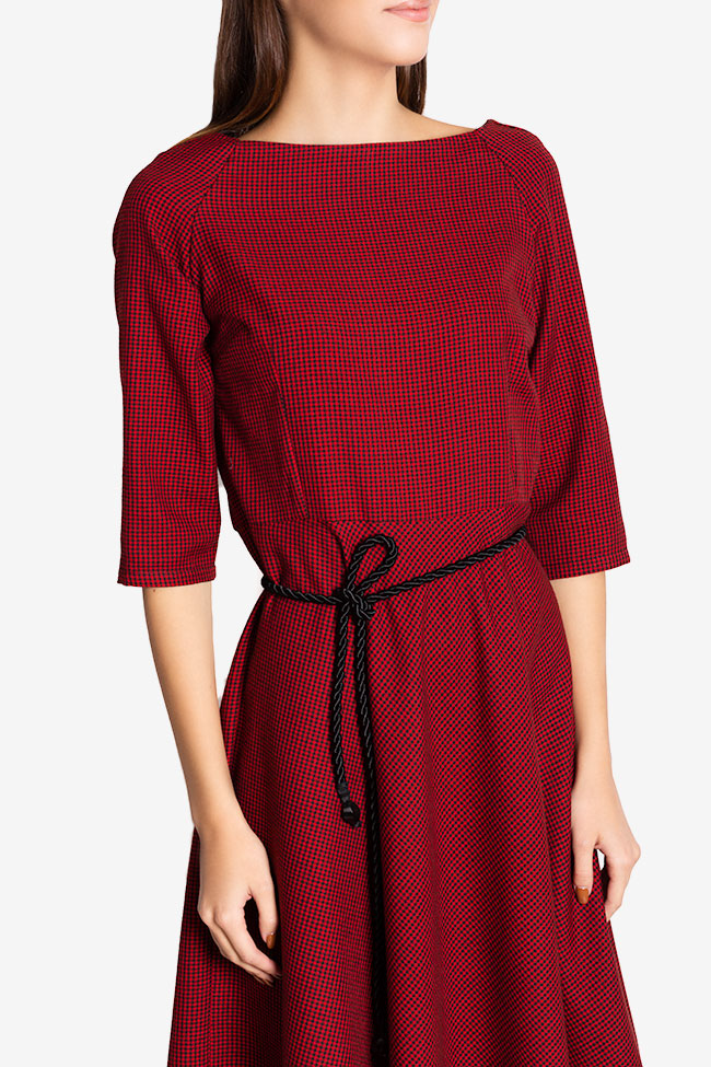 Jamie belted checked wool-blend midi dress Couture de Marie image 3