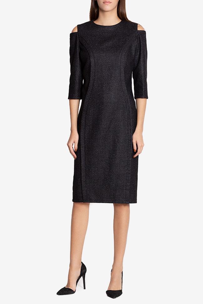 Rochie din amestec de lana cu umerii decupati Chantelle Couture de Marie imagine 1