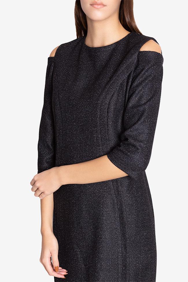 Rochie din amestec de lana cu umerii decupati Chantelle Couture de Marie imagine 3