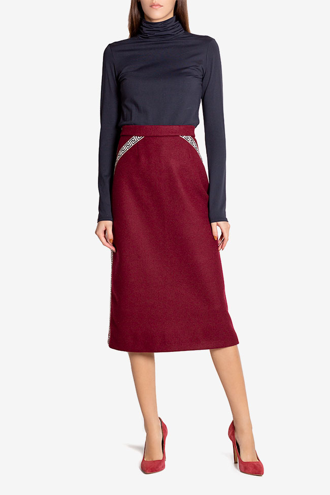 Embroidered wool-blend midi skirt  Carmen Ormenisan image 1