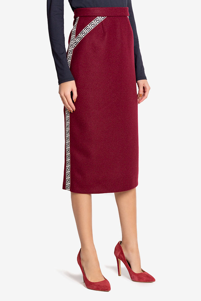 Embroidered wool-blend midi skirt  Carmen Ormenisan image 0