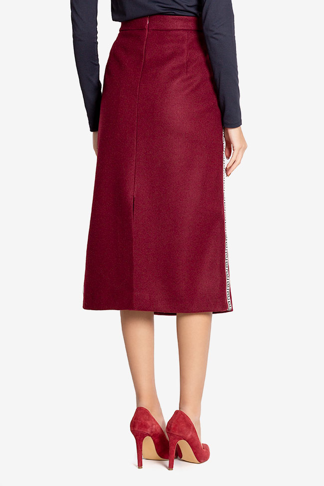 Embroidered wool-blend midi skirt  Carmen Ormenisan image 2