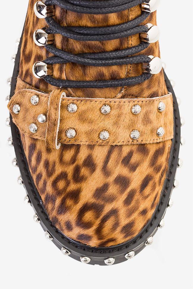 MA' 3 buckled leopard-print fur ankle boots  Mihai Albu image 2
