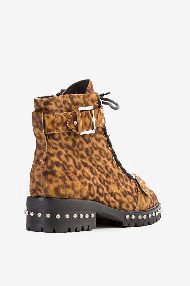 MA' 3 buckled leopard-print fur ankle boots  Mihai Albu image 1