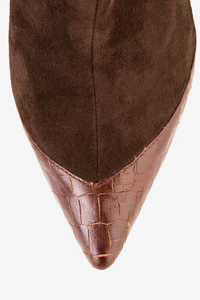 Botine din piele intoarsa cu insertii din piele tip sarpe Hannami imagine 2