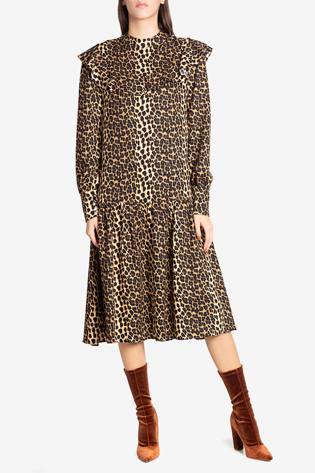 Elsa animal-print crepe de chine midi dress Arllabel Golden Brand image 1