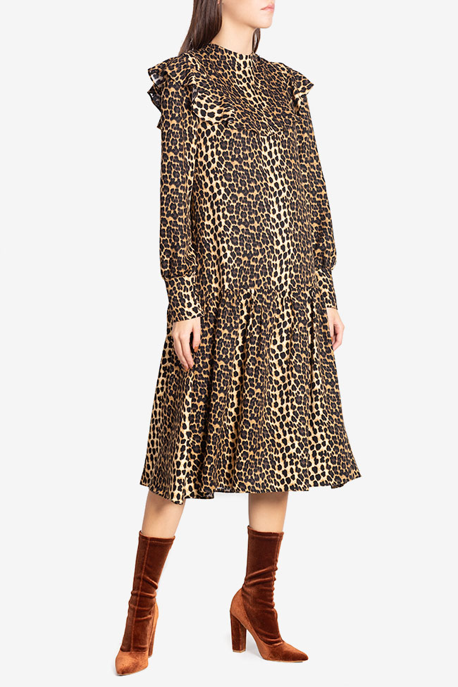 Elsa animal-print crepe de chine midi dress Arllabel Golden Brand image 0