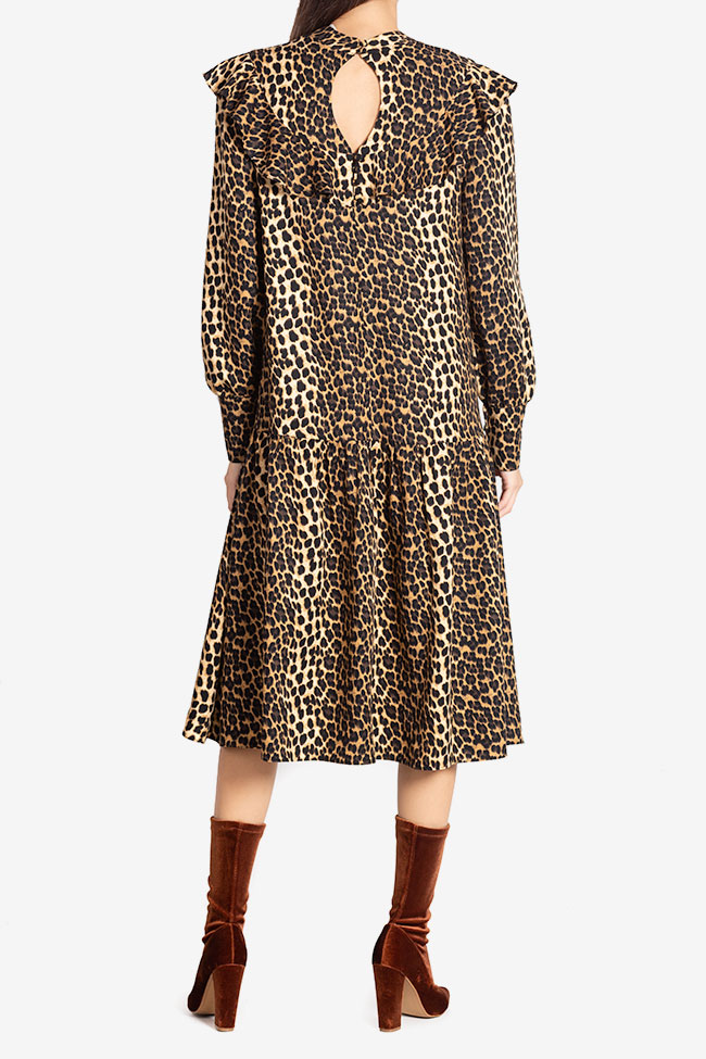 Elsa animal-print crepe de chine midi dress Arllabel Golden Brand image 2