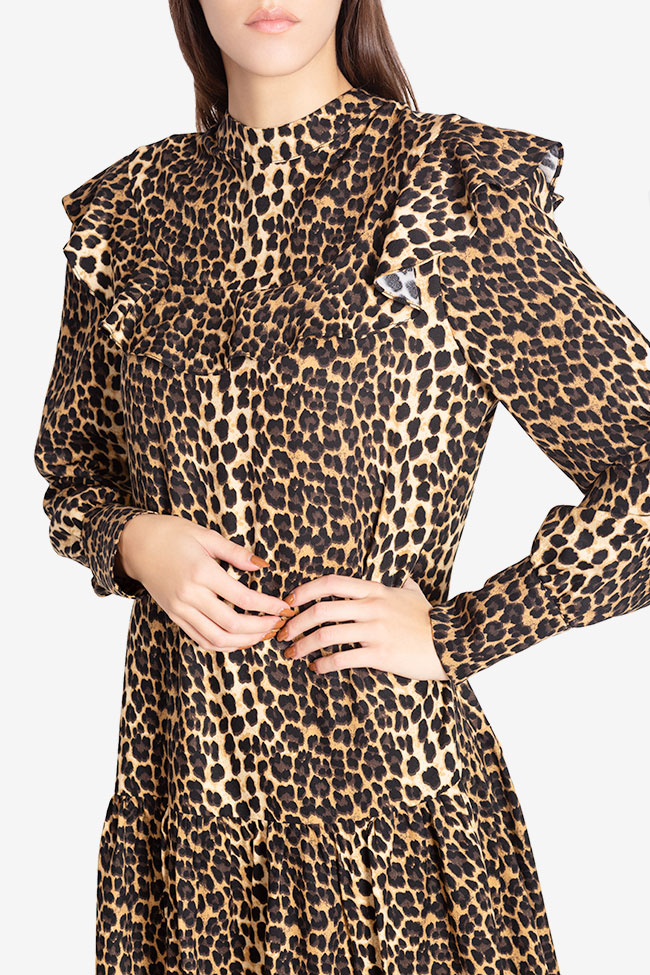 Elsa animal-print crepe de chine midi dress Arllabel Golden Brand image 3