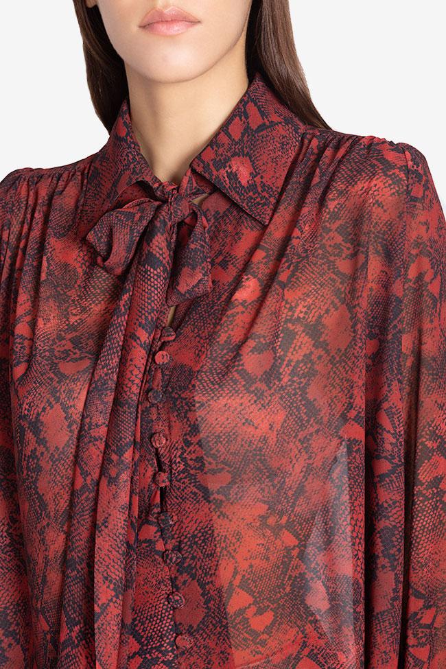 Sara silk-blend printed shirt Arllabel Golden Brand image 3