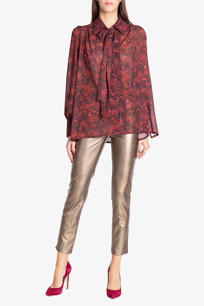 Bluza din voal din amestec de matase Sara Arllabel Golden Brand imagine 1