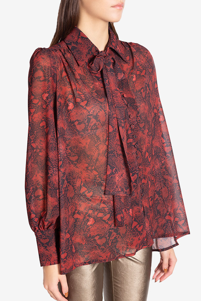 Sara silk-blend printed shirt Arllabel Golden Brand image 0