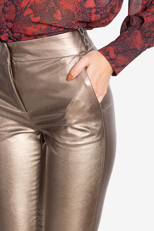 Russo faux-leather pants Arllabel Golden Brand image 3