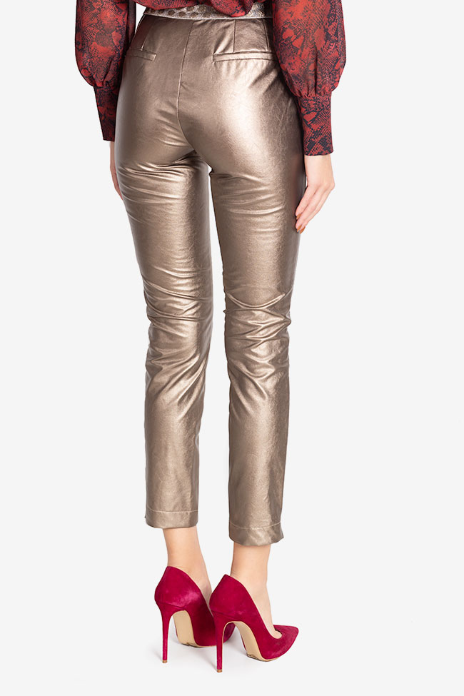 Russo faux-leather pants Arllabel Golden Brand image 2