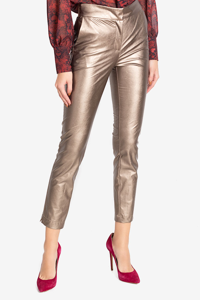 Russo faux-leather pants Arllabel Golden Brand image 0