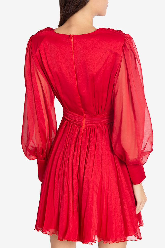 Pleated silk-chiffon mini dress Cloche image 2
