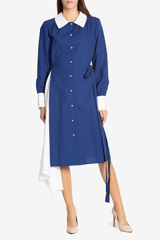 Robe asymétrique en mélange de laine et coton Azzure Carmina Cimpoeru image 1