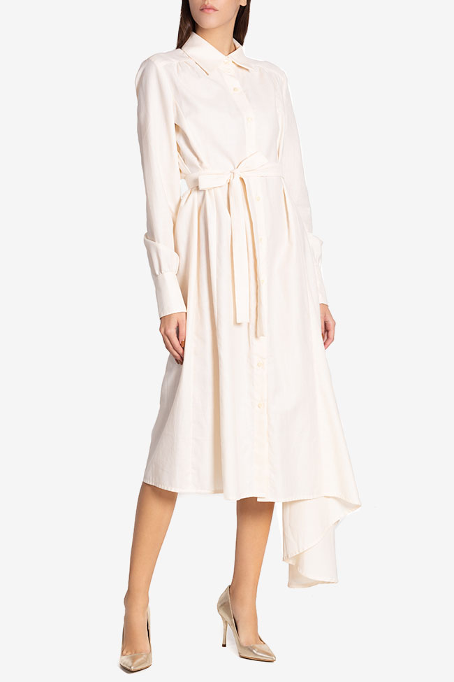 Pearl asymmetric silk cotton-blend dress Carmina Cimpoeru image 0