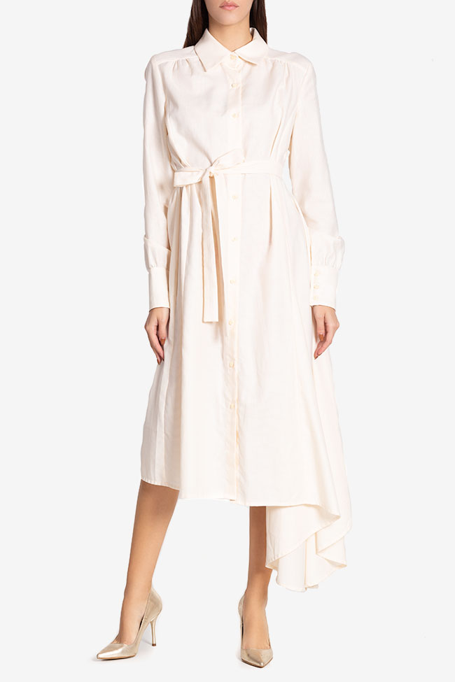 Robe asymétrique en mélange de soie et coton Pearl Carmina Cimpoeru image 1