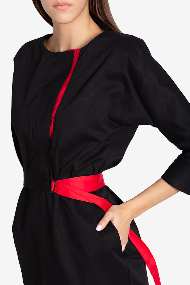 Tilly belted wrap-effect cotton midi dress Couture de Marie image 3