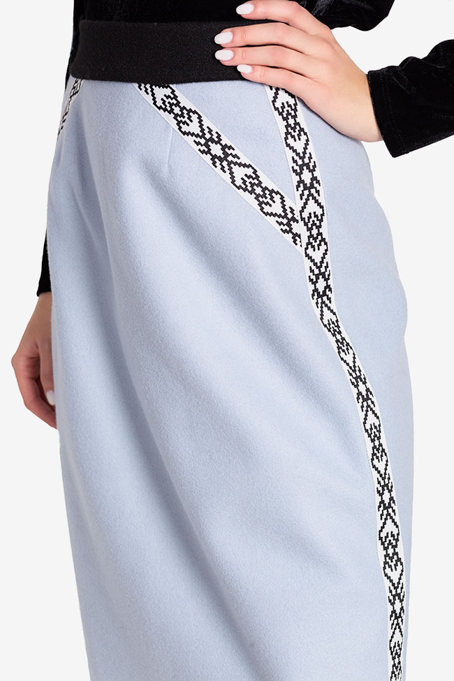Embroidered wool-blend midi skirt  Carmen Ormenisan image 3