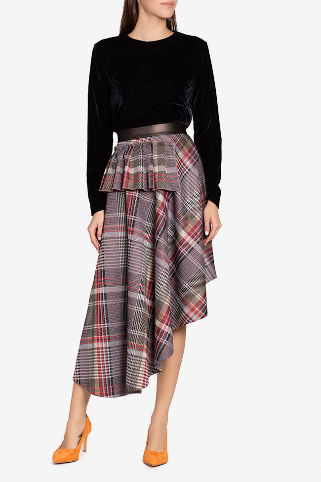 Asymmetric checked faux-leather paneled jacquard midi skirt Carmen Ormenisan image 1