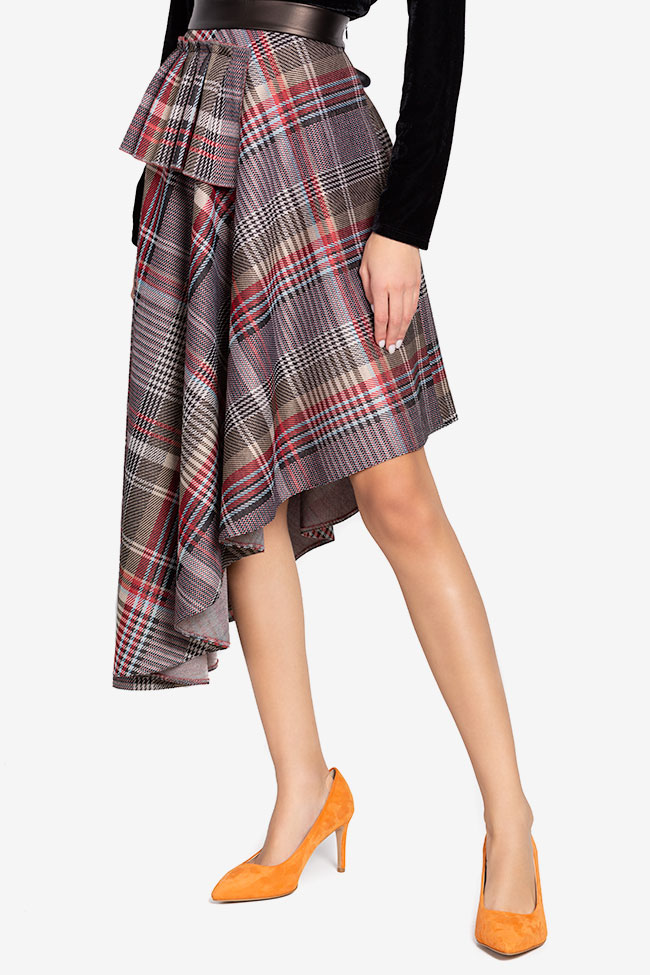 Asymmetric checked faux-leather paneled jacquard midi skirt Carmen Ormenisan image 0