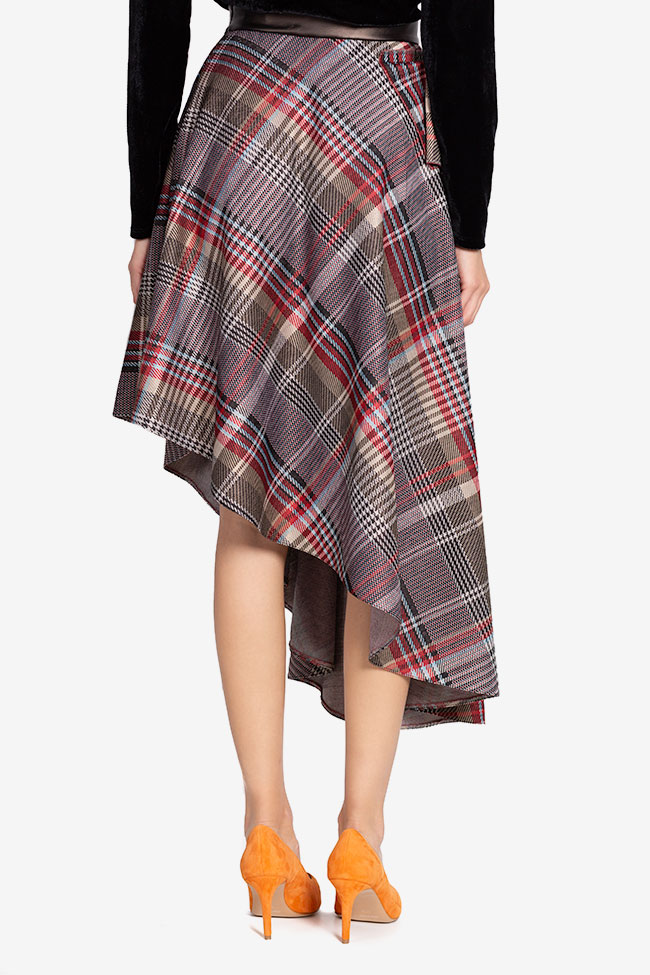 Asymmetric checked faux-leather paneled jacquard midi skirt Carmen Ormenisan image 2