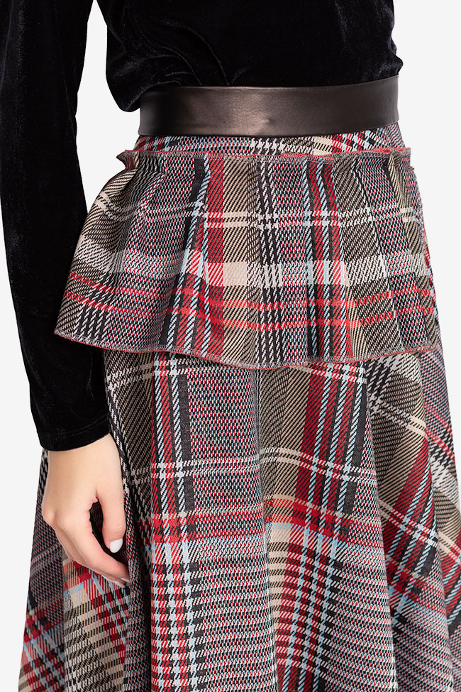 Asymmetric checked faux-leather paneled jacquard midi skirt Carmen Ormenisan image 3