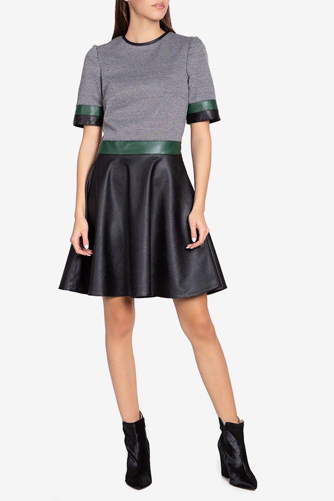 Stretch-jersey and faux leather mini dress Carmen Ormenisan image 1