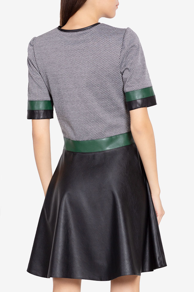 Stretch-jersey and faux leather mini dress Carmen Ormenisan image 2