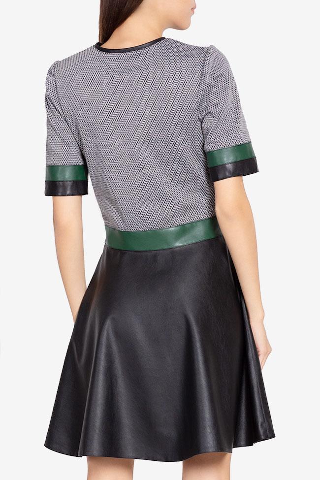 Robe mini en jersay avec empiècements de cuir écologique Carmen Ormenisan image 2