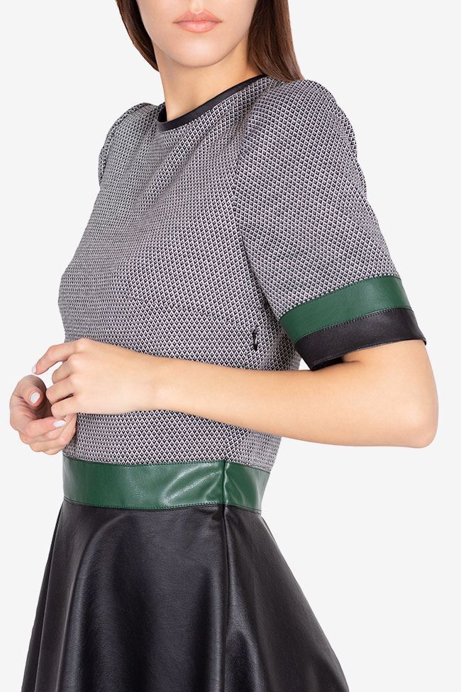 Stretch-jersey and faux leather mini dress Carmen Ormenisan image 3