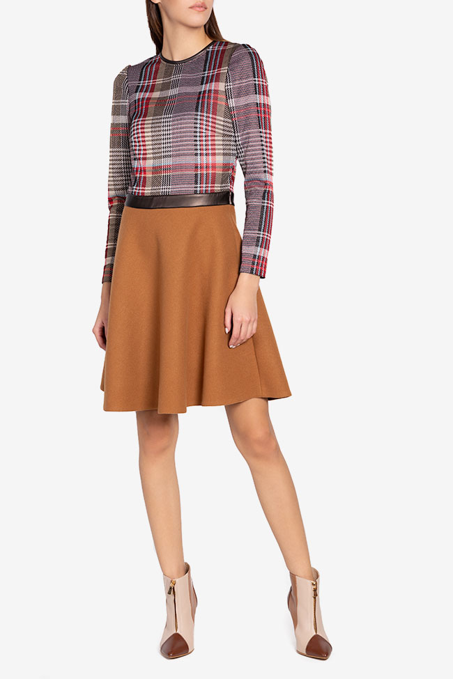 Checked wool-blend faux-leather paneled mini dress Carmen Ormenisan image 1