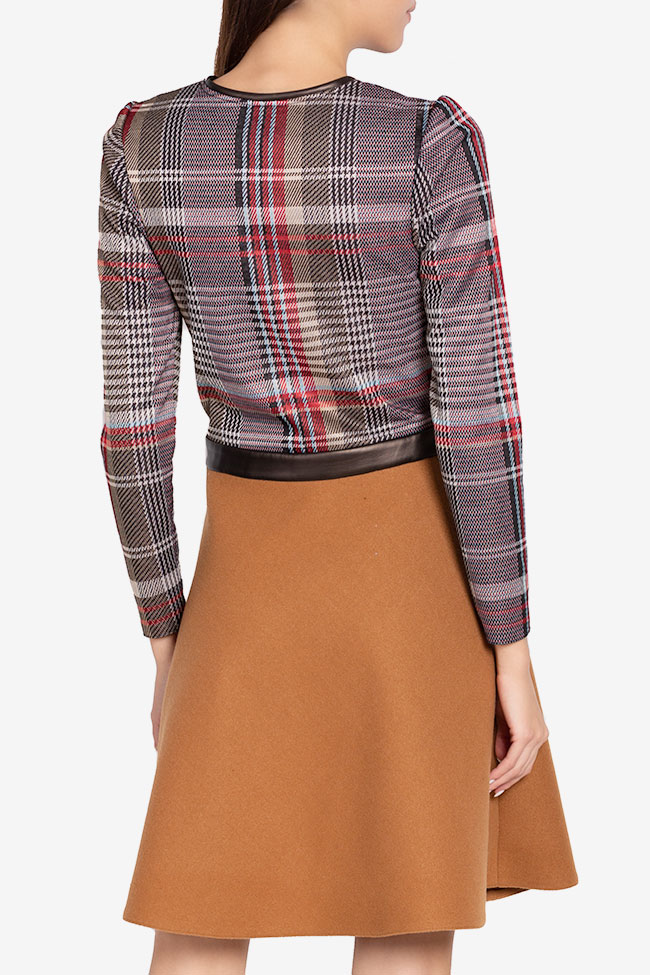 Checked wool-blend faux-leather paneled mini dress Carmen Ormenisan image 2