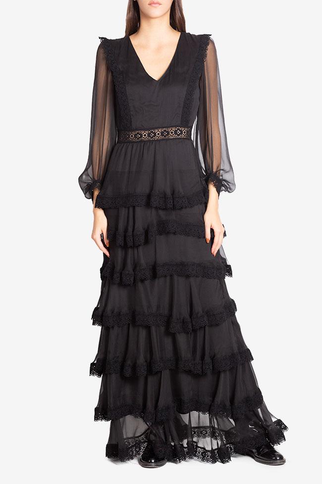 Ruffled macramé-paneled silk-georgette gown Izabela Mandoiu image 1