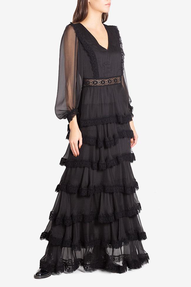 Ruffled macramé-paneled silk-georgette gown Izabela Mandoiu image 0