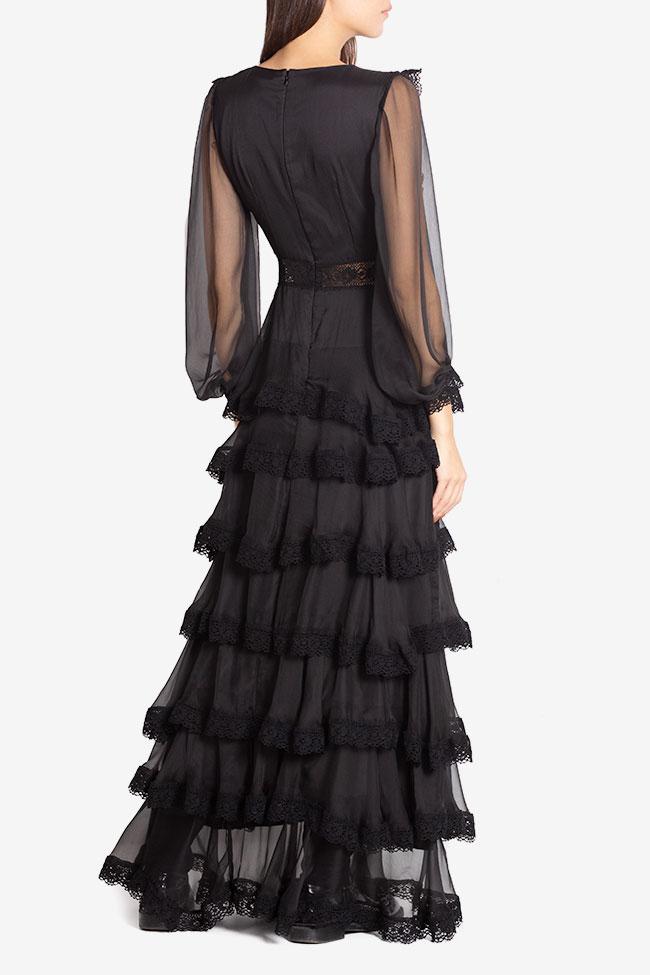 Ruffled macramé-paneled silk-georgette gown Izabela Mandoiu image 2