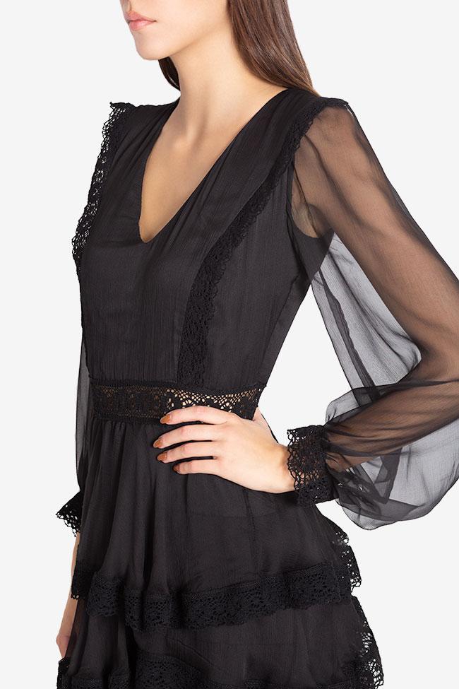 Ruffled macramé-paneled silk-georgette gown Izabela Mandoiu image 3