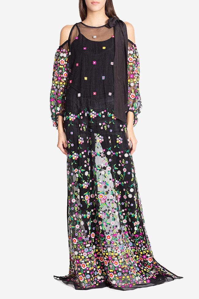 Cold-shoulder silk bow embroidered tulle maxi dress Izabela Mandoiu image 1