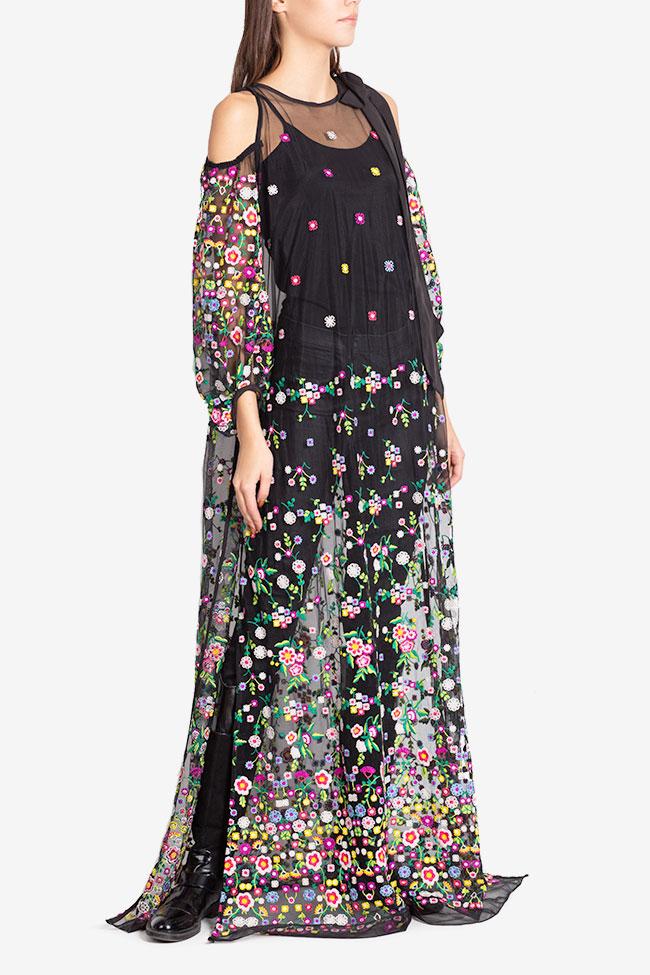 Cold-shoulder silk bow embroidered tulle maxi dress Izabela Mandoiu image 0