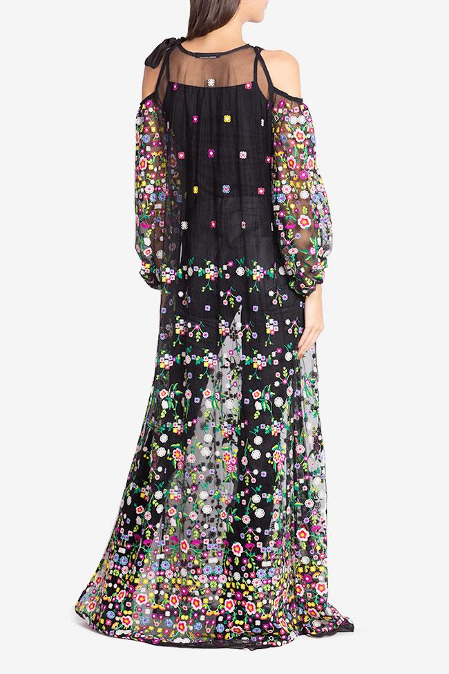 Cold-shoulder silk bow embroidered tulle maxi dress Izabela Mandoiu image 2
