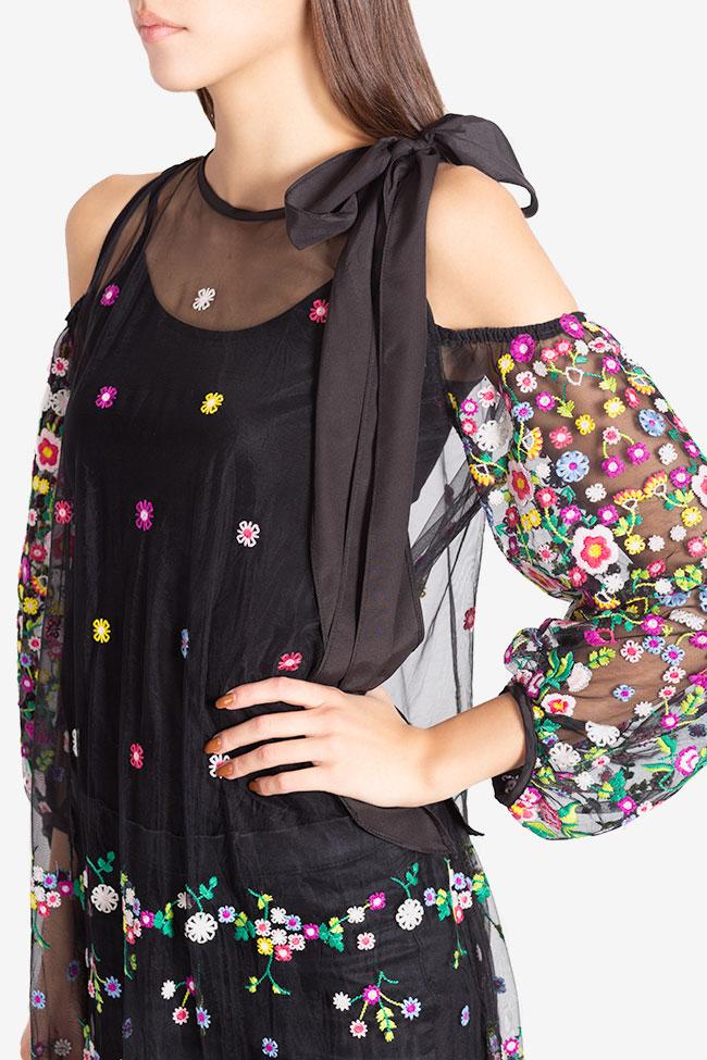 Cold-shoulder silk bow embroidered tulle maxi dress Izabela Mandoiu image 3