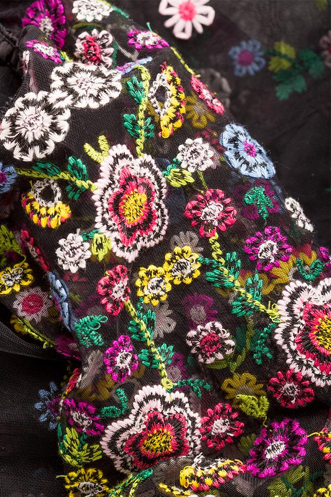 Cold-shoulder silk bow embroidered tulle maxi dress Izabela Mandoiu image 4