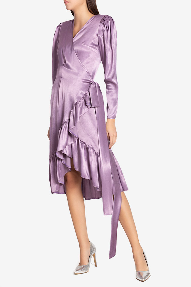 Ruffled silk-blend wrap midi dress Cloche image 0