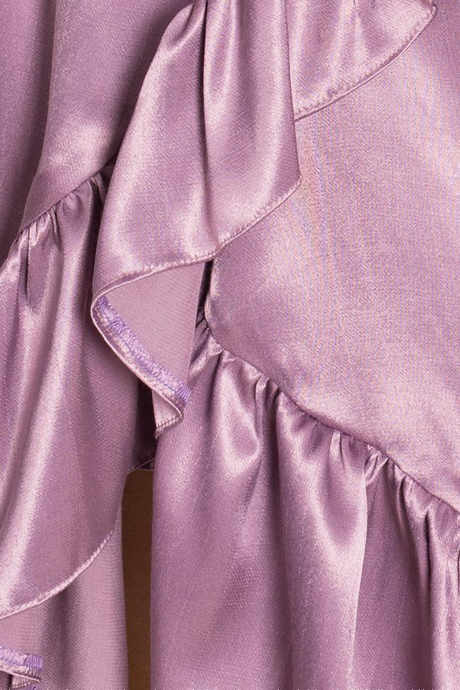 Robe portefeuille en mélange de soie satinée Cloche image 4