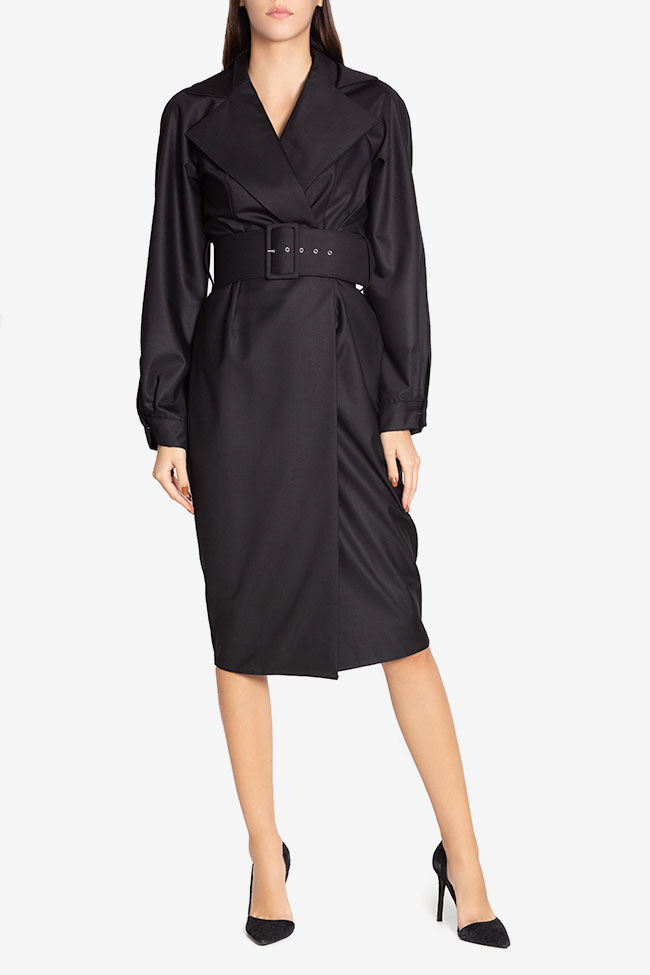 Belted cotton-blend wrap dress Cloche image 1