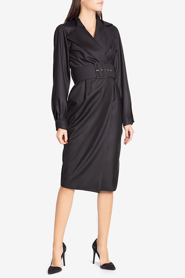 Belted cotton-blend wrap dress Cloche image 0