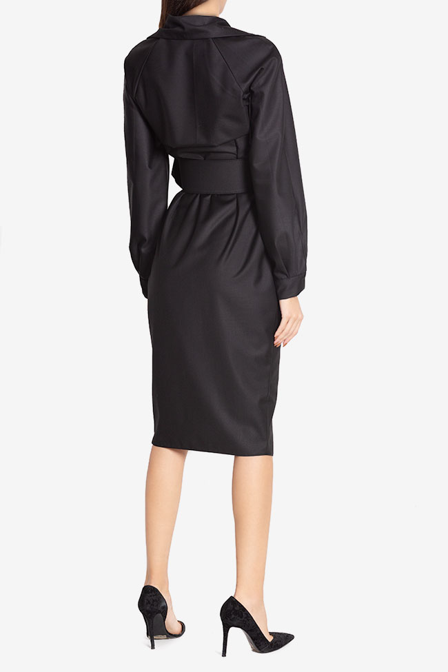 Belted cotton-blend wrap dress Cloche image 2