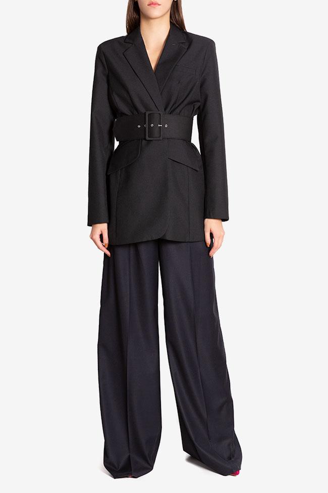 Veste tailleur en étoffe de laine avec ceinture Cloche image 1